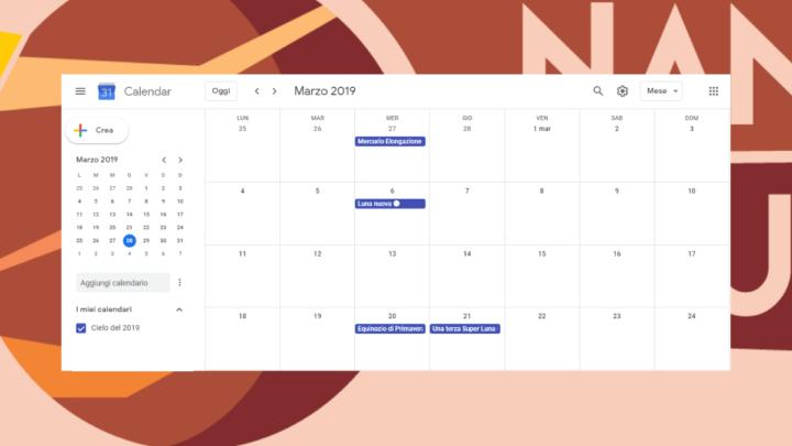 Sincronizza il tuo Google Calendar con il calendario astronomico 2019 targato Nane Brune