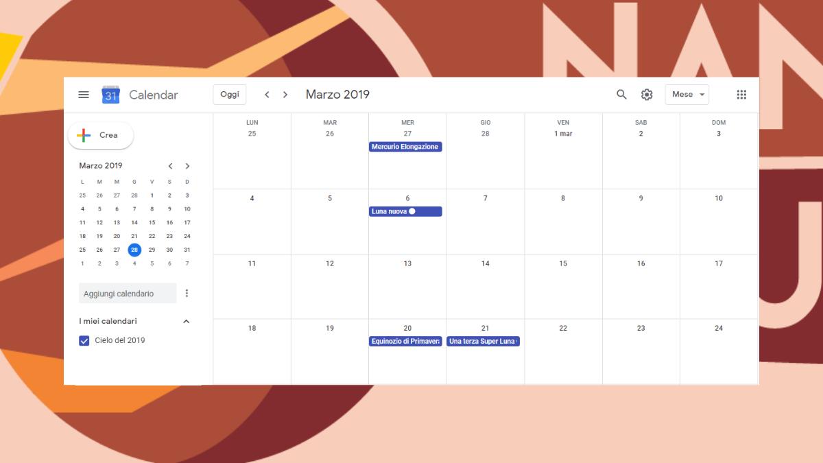 anteprima Google Calendar da scaricare sullo smartphone con 54 eventi