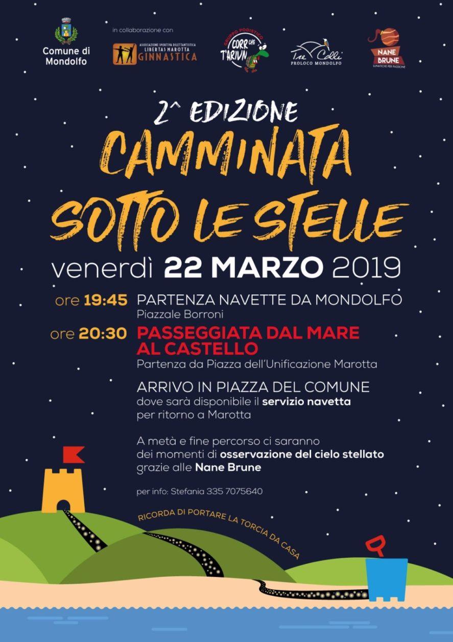 2° edizione Camminata sotto le Stelle. Venerdì 22 marzo, passeggiata dal Mare al Castello inframezzata da due momenti di osservazione del cielo notturno