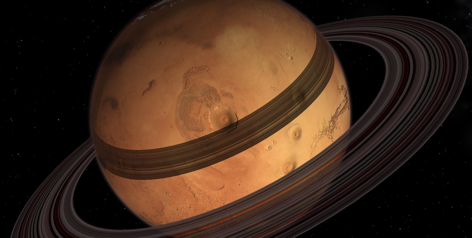 Rappresentazione di Marte con gli anelli
