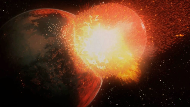 Rappresentazione artistica dello scontro che ha generato la Luna
