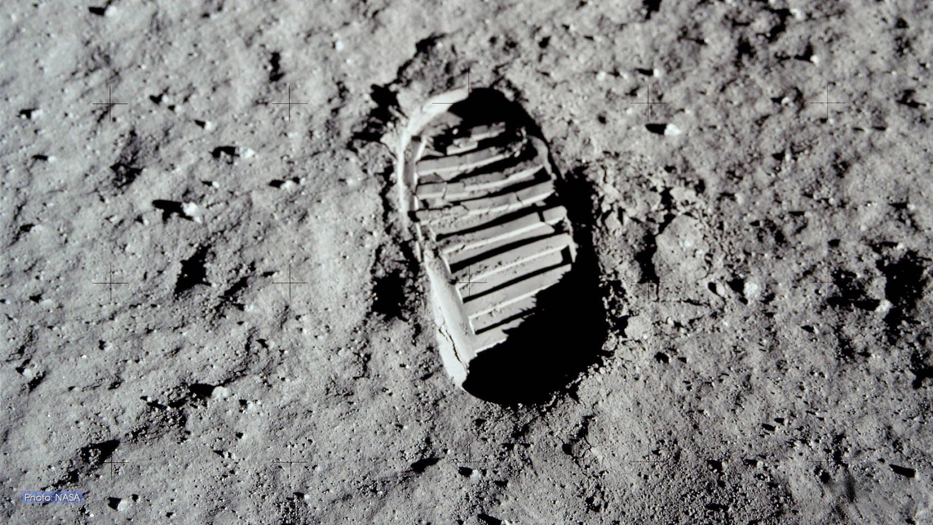 Orma di Buzz Aldrin sulla superficie lunare